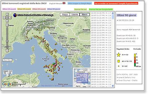 Mappa terremoti dall ingv il database per monitorare gli for Ingv lista terremoti di oggi